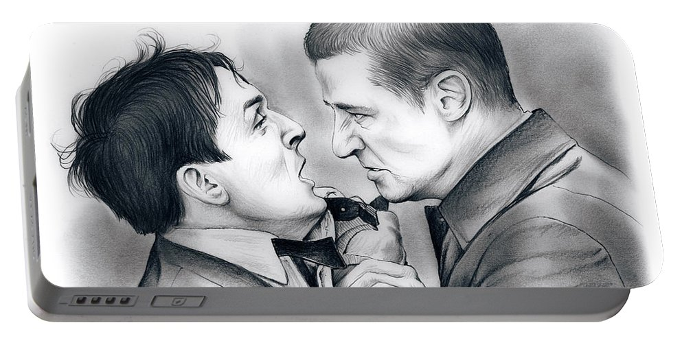 Robin Lord Taylor Portable Battery Charger featuring the drawing Robin Lord Taylor by Greg Joens