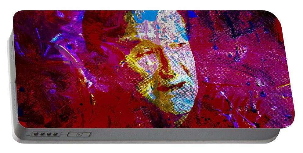 Robin Williams Portable Battery Charger featuring the painting Robin Williams Paint Splatter by Brian Reaves