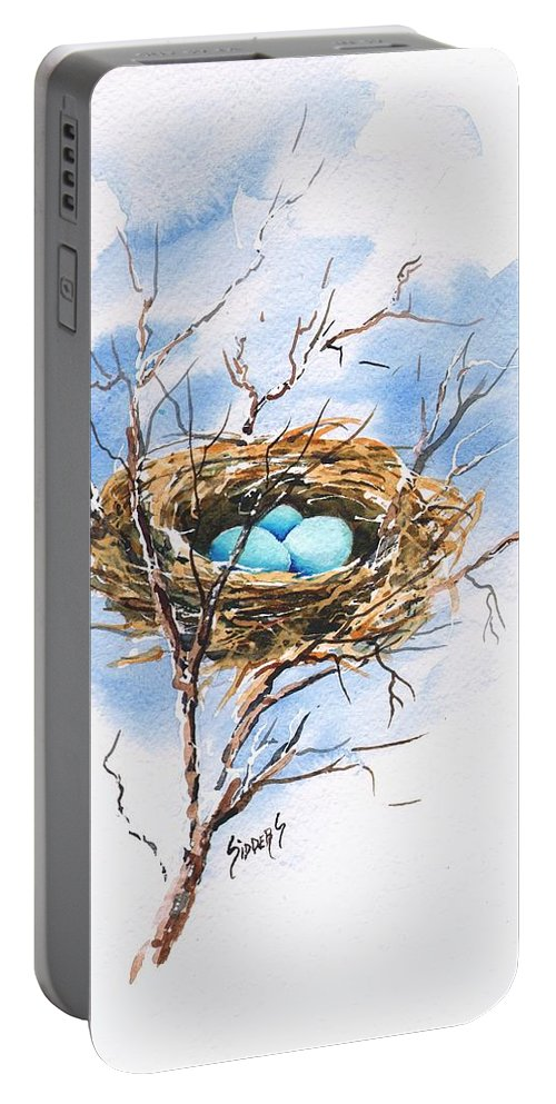 Nest Portable Battery Charger featuring the painting Robin's Nest by Sam Sidders