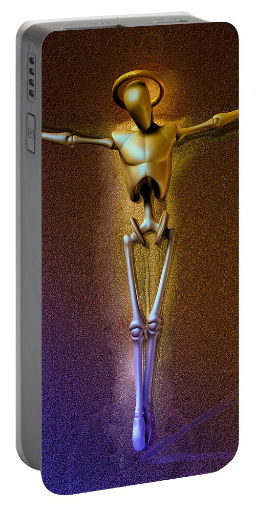 Robot Portable Battery Charger featuring the digital art Holy Robocrist by Joaquin Abella