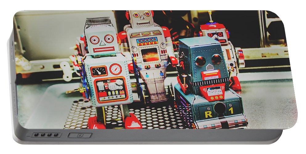 Robotic Portable Battery Charger featuring the photograph Robots Of Retro Cool by Jorgo Photography - Wall Art Gallery