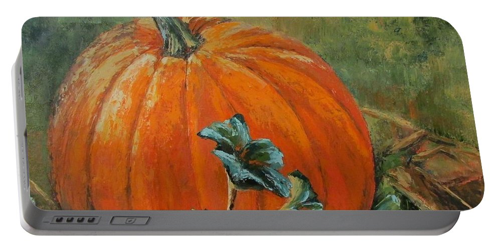 Fall Portable Battery Charger featuring the painting Rochester Pumpkin by Rebecca Hauschild