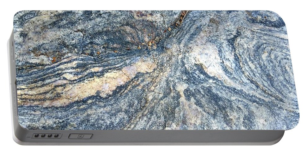 Rock Granite Abstract Pattern Gray Grey Swirl Random Natural Portable Battery Charger featuring the photograph Rock Abstract by Russell Keating