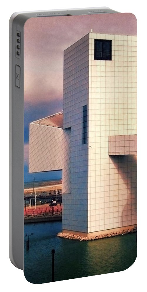 Rock Hall Portable Battery Charger featuring the photograph Rock And Roll Hall Of Fame by Shawna Rowe