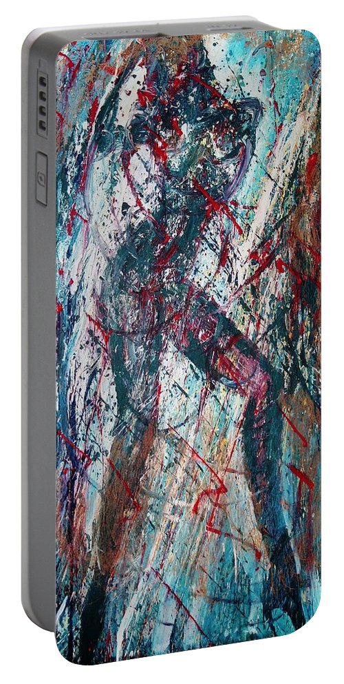 Beautiful Portable Battery Charger featuring the painting Rock And Roll by Jarmo Korhonen aka Jarko