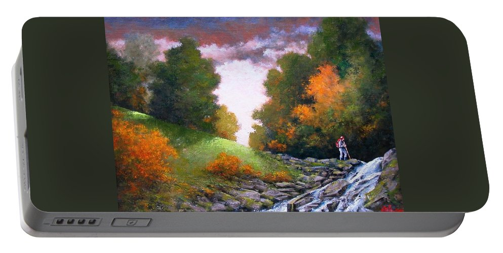 Artist Portable Battery Charger featuring the painting Rock Creek by Jim Gola