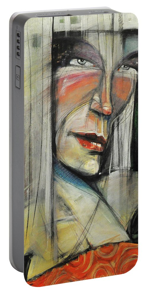 Woman Portable Battery Charger featuring the painting Rock Diva Or Pris by Tim Nyberg