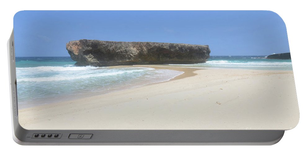 Boca Keto Portable Battery Charger featuring the photograph Rock Formation On The Secluded Beach In Aruba by DejaVu Designs