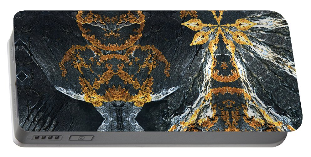 Rocks Portable Battery Charger featuring the digital art Rock Gods Lichen Lady And Lords by Nancy Griswold