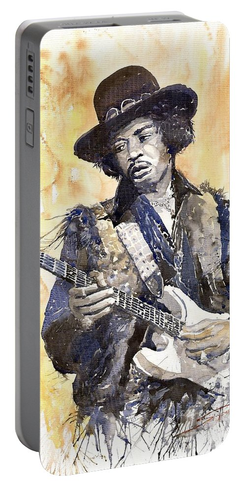 Watercolour Portable Battery Charger featuring the painting Rock Jimi Hendrix 02 by Yuriy Shevchuk