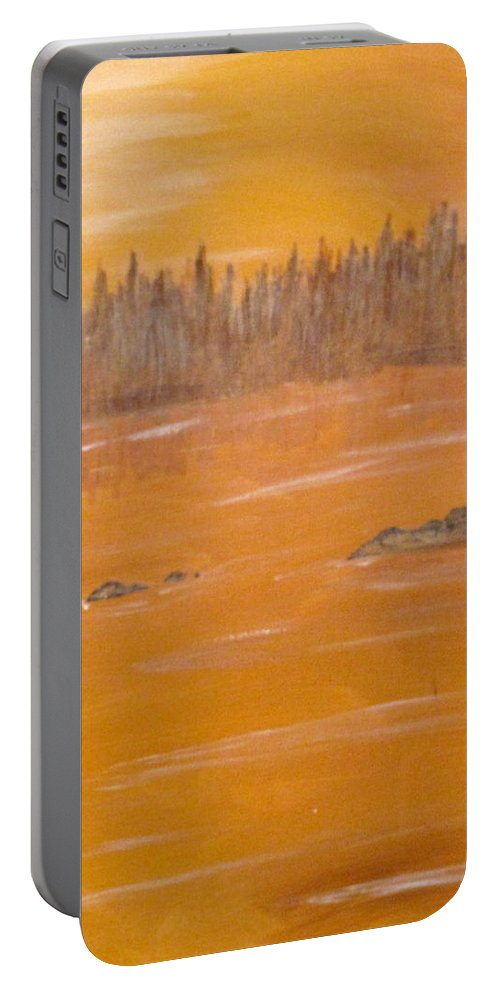 Northern Ontario Portable Battery Charger featuring the painting Rock Lake Morning 2 by Ian MacDonald