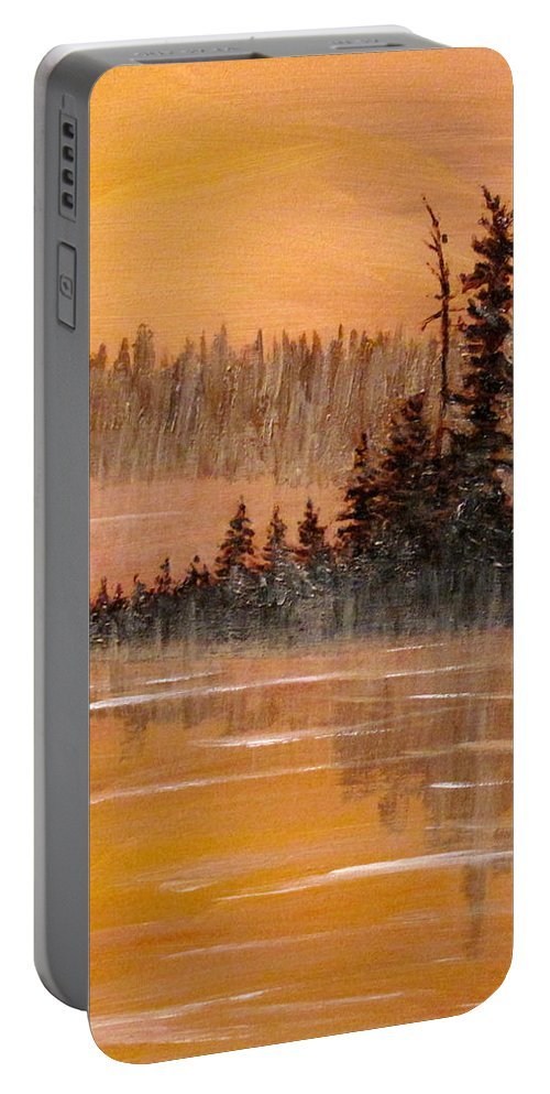 Northern Ontario Portable Battery Charger featuring the painting Rock Lake Morning 3 by Ian MacDonald