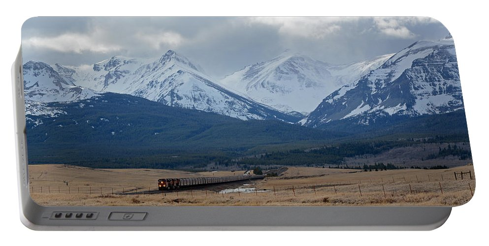 Railroad Portable Battery Charger featuring the photograph Rock Mountain Front- Train by Whispering Peaks Photography