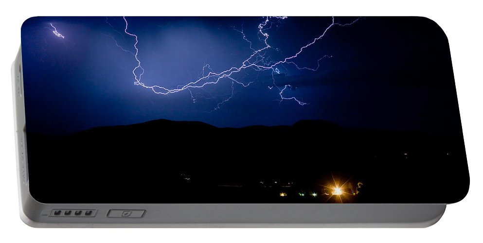 Lightning Portable Battery Charger featuring the photograph Rock Mountains Foot Hills Lightning Storm by James BO Insogna