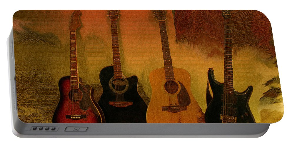 Music Portable Battery Charger featuring the photograph Rock N Roll Guitars by Linda Sannuti