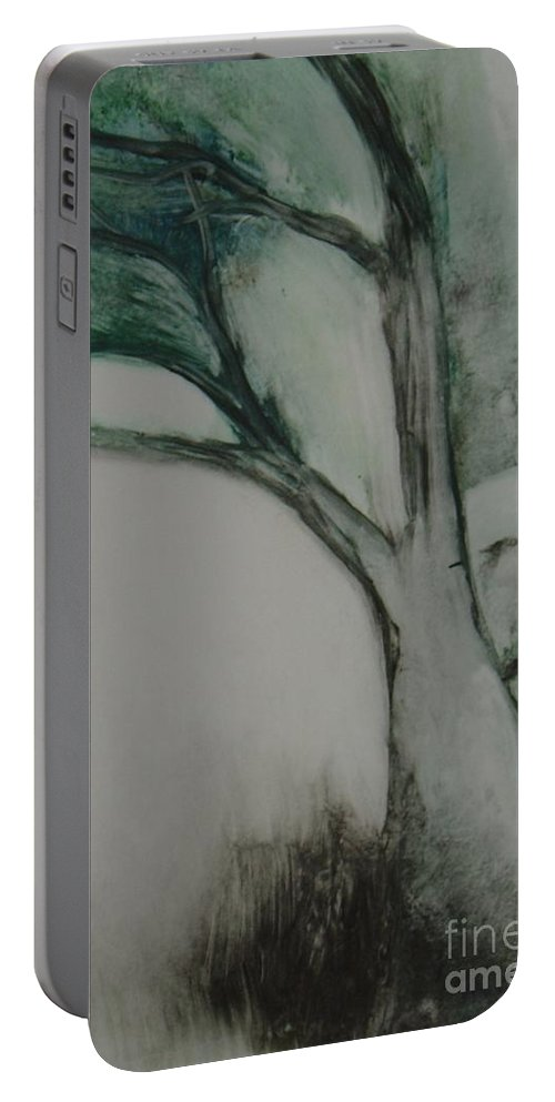 Monoprint Tree Rock Trees Portable Battery Charger featuring the painting Rock Tree by Leila Atkinson