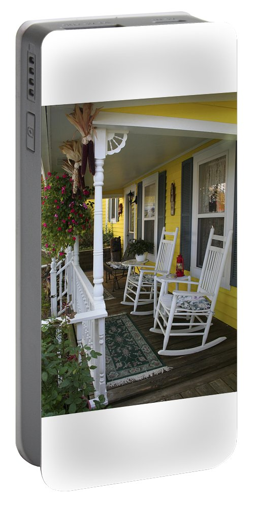Rocking Chair Portable Battery Charger featuring the photograph Rockers on the Porch by Margie Wildblood