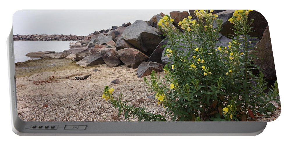 Yellow Portable Battery Charger featuring the photograph Rocks And Flowers by Brooke Bowdren