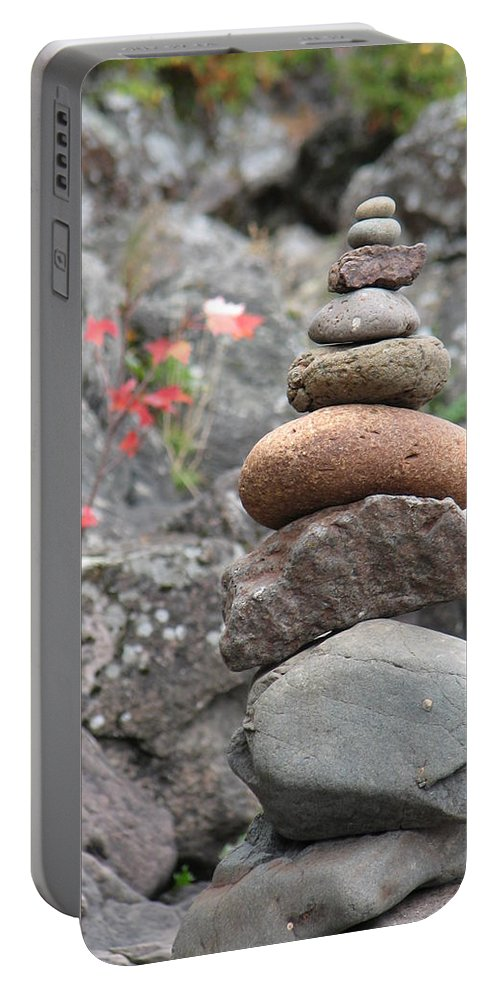 Rocks Portable Battery Charger featuring the photograph Rocks and Roses by Kelly Mezzapelle
