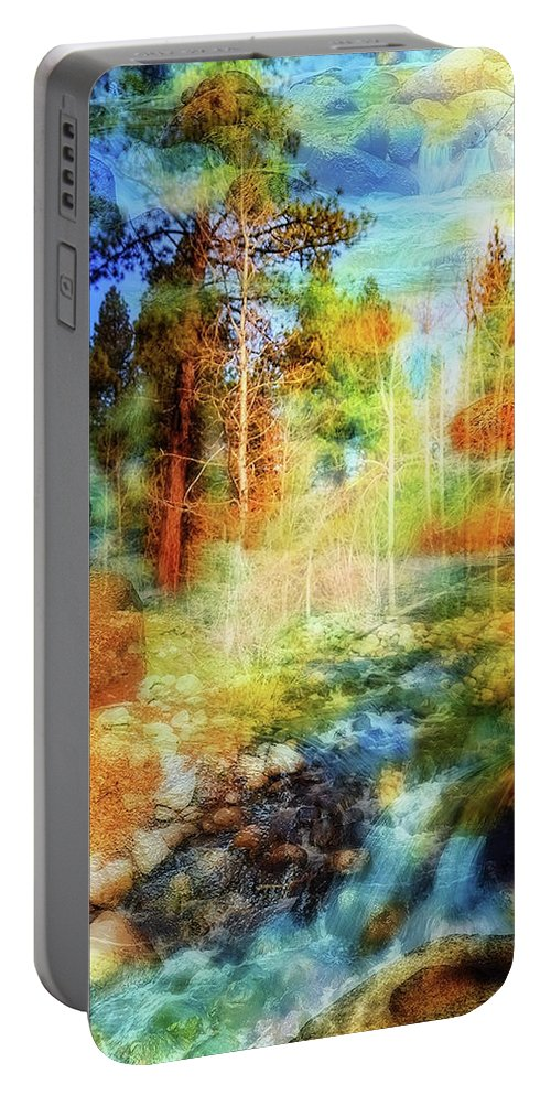 Double Exposure Portable Battery Charger featuring the photograph Rocks And Water Double by Nancy Marie Ricketts