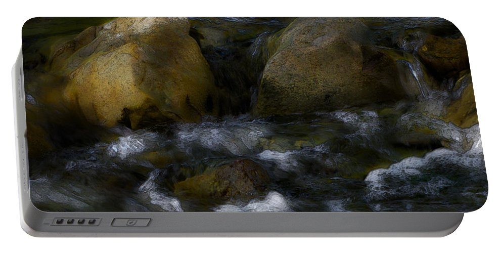 Rocks Portable Battery Charger featuring the photograph Rocks And Water by Karen W Meyer