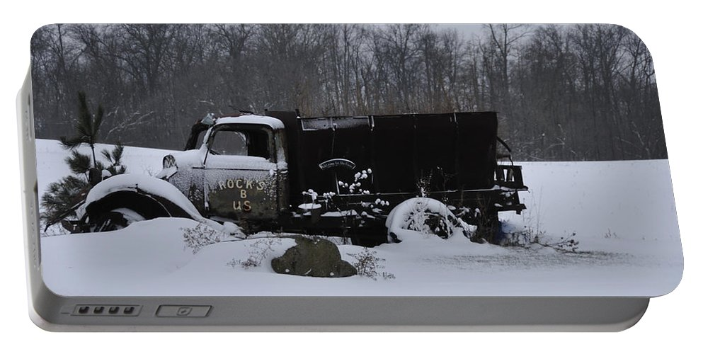Dump Truck Portable Battery Charger featuring the photograph Rocks B Us 2 by David Arment