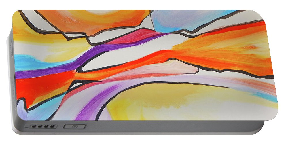 Colors Of A Sunset Sky Pull You In Feels Like A Rock Formation Landscape And Sunset Sky Portable Battery Charger featuring the painting Rocks N Shadows by Expressionistart studio Priscilla Batzell