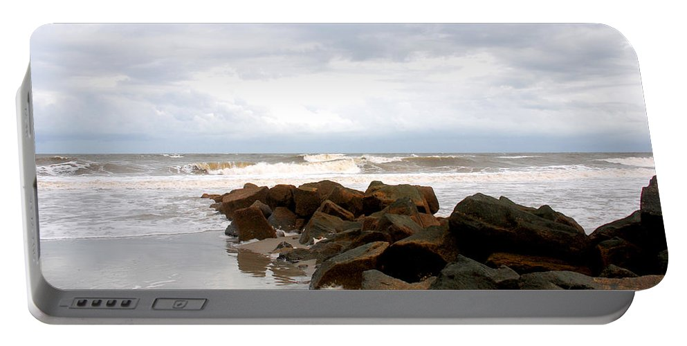 Rocks Portable Battery Charger featuring the photograph Rocks On The Beach by Susanne Van Hulst