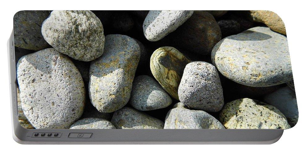Rock Portable Battery Charger featuring the digital art Rocks by Palzattila