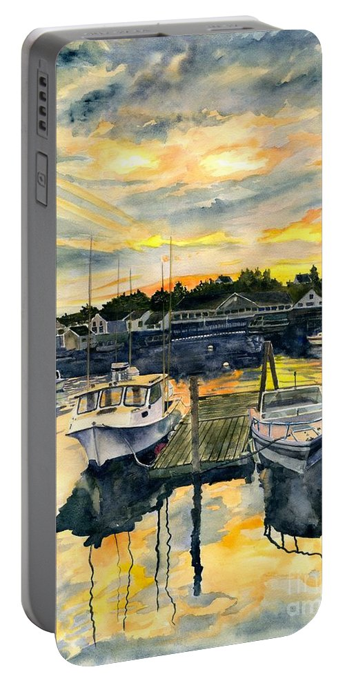Boats Portable Battery Charger featuring the painting Rocktide Sunset by Melly Terpening