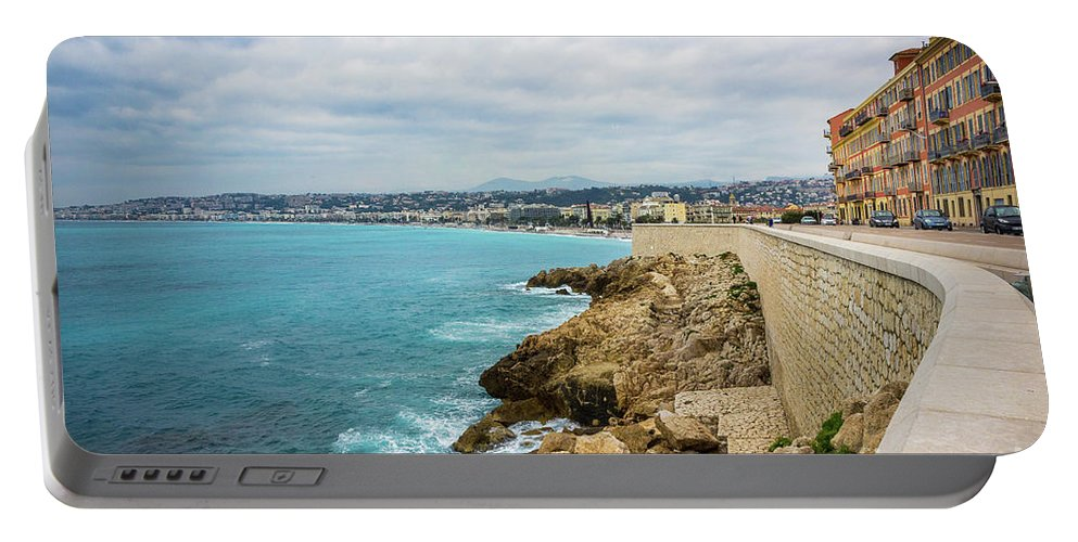 Cote D'azur Portable Battery Charger featuring the photograph Rocky Coastline In Nice, France by Liesl Walsh