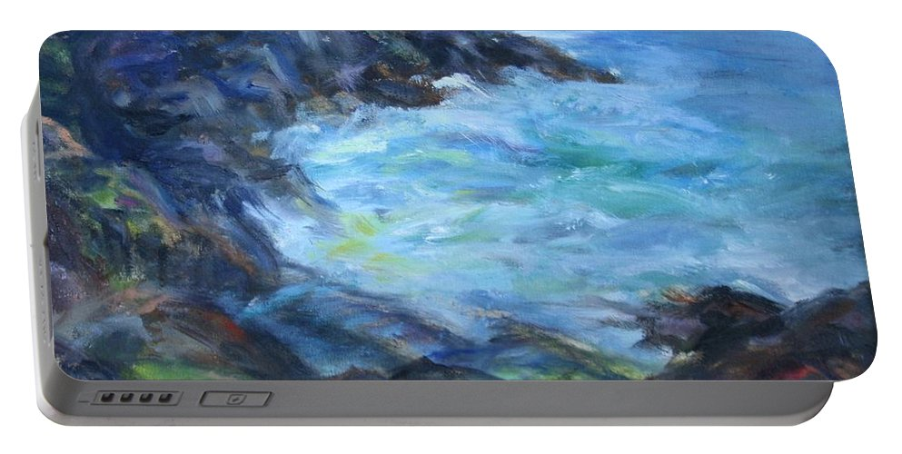 Quin Sweetman Portable Battery Charger featuring the painting Rocky Creek Viewpoint by Quin Sweetman