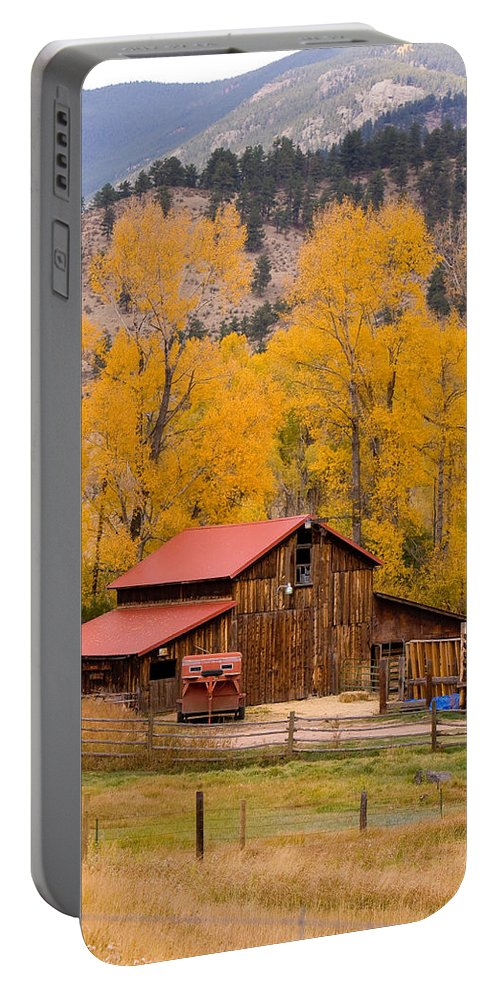 Rustic Portable Battery Charger featuring the photograph Rocky Mountain Barn Autumn View by James BO Insogna