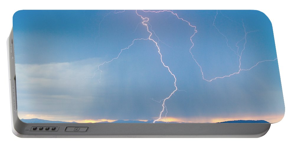 July Portable Battery Charger featuring the photograph Rocky Mountain Front Range Foothills Lightning Strikes 1 by James BO Insogna