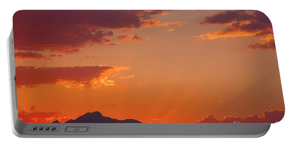 Sunset Portable Battery Charger featuring the photograph Rocky Mountain Religious Sunset by James BO Insogna