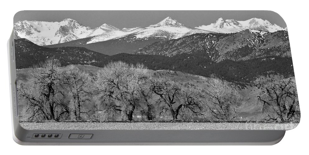 Rocky Mountains Portable Battery Charger featuring the photograph Rocky Mountain View Bw by James BO Insogna