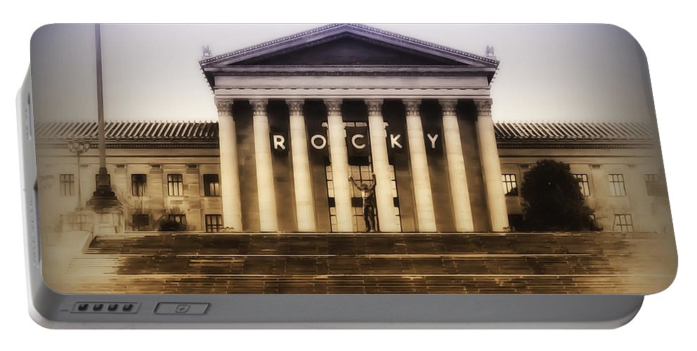 Rocky Balboa Portable Battery Charger featuring the photograph Rocky On The Art Museum Steps by Bill Cannon