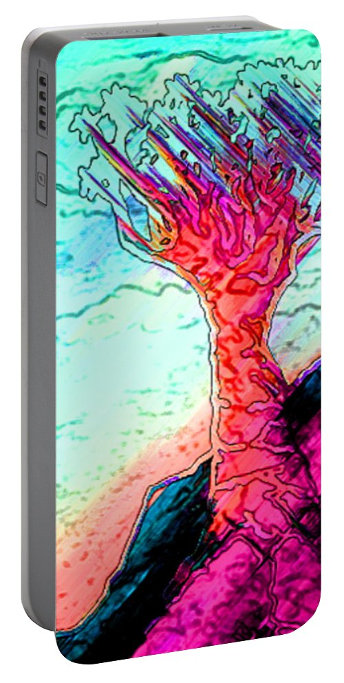 Tree Print Portable Battery Charger featuring the digital art Rocky Outcrop Outline Of Quiver Tree by Rheta-Mari Kotze