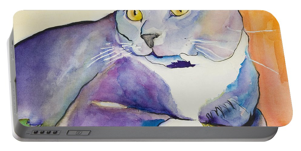 Pat Saunders-white Portable Battery Charger featuring the painting Rocky by Pat Saunders-White