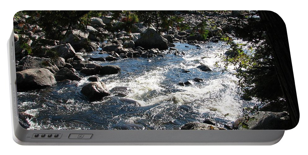 Water Portable Battery Charger featuring the photograph Rocky Rapids by Kelly Mezzapelle