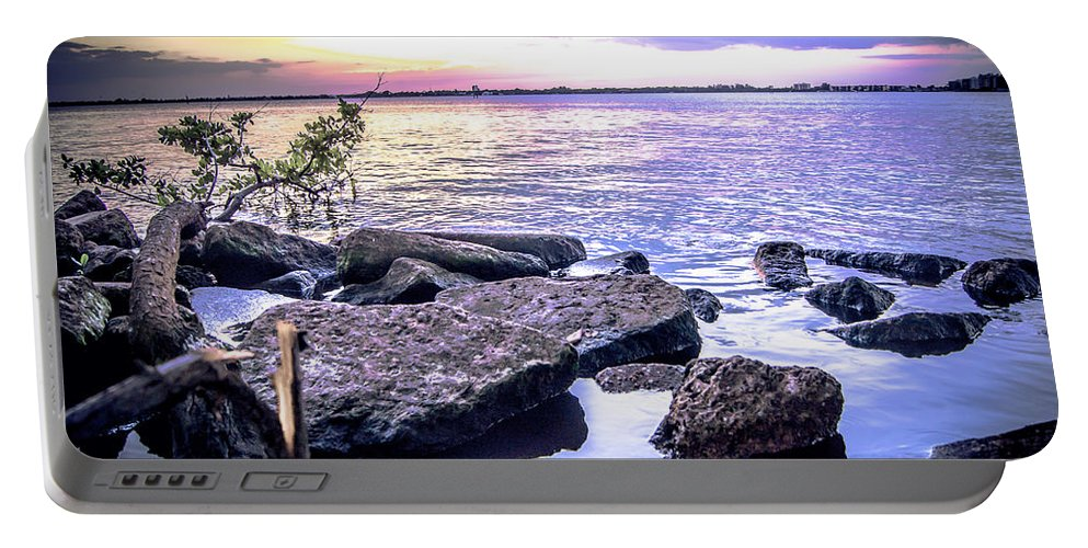 Rocky River Shore Portable Battery Charger featuring the photograph Rocky River Shore by Michael Frizzell