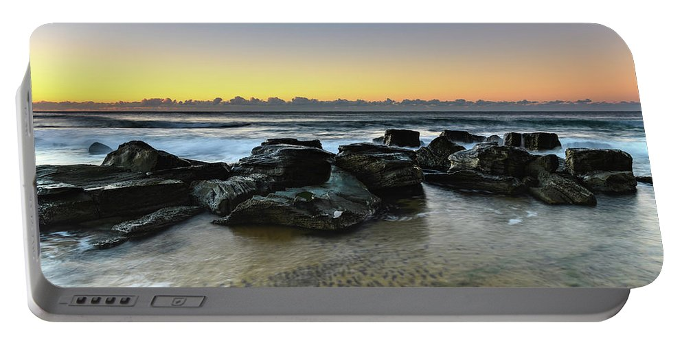 Australia Portable Battery Charger featuring the photograph Rocky Seascape by Merrillie Redden