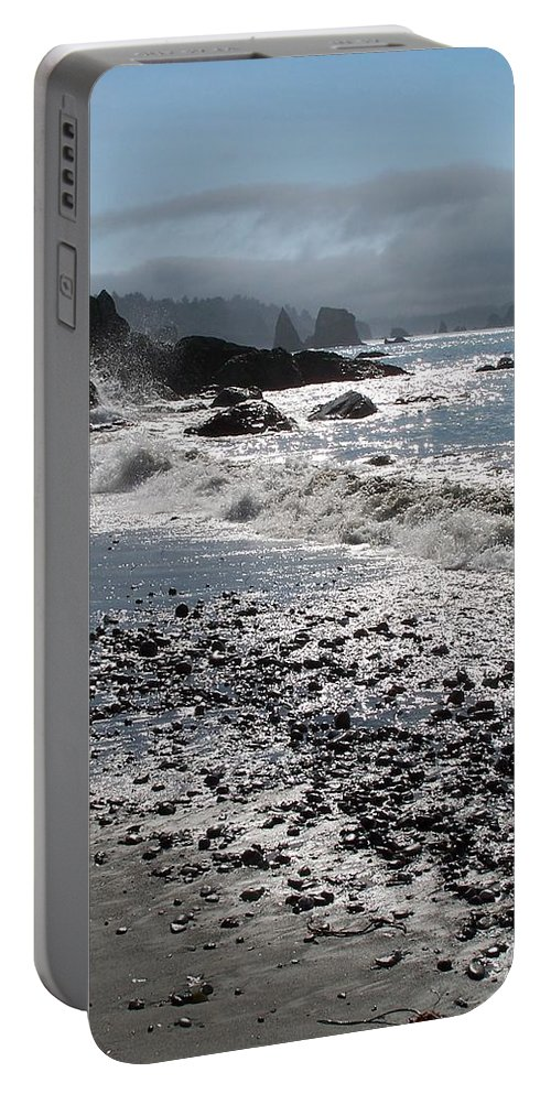 Ocean Portable Battery Charger featuring the photograph Rocky Shores by Gale Cochran-Smith