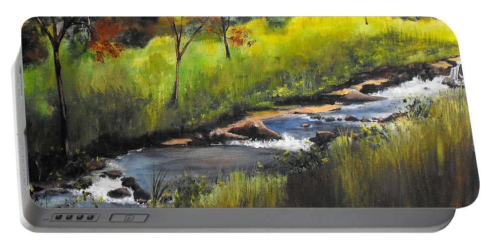 Landscape Portable Battery Charger featuring the painting Rocky Stream by Ruth Palmer