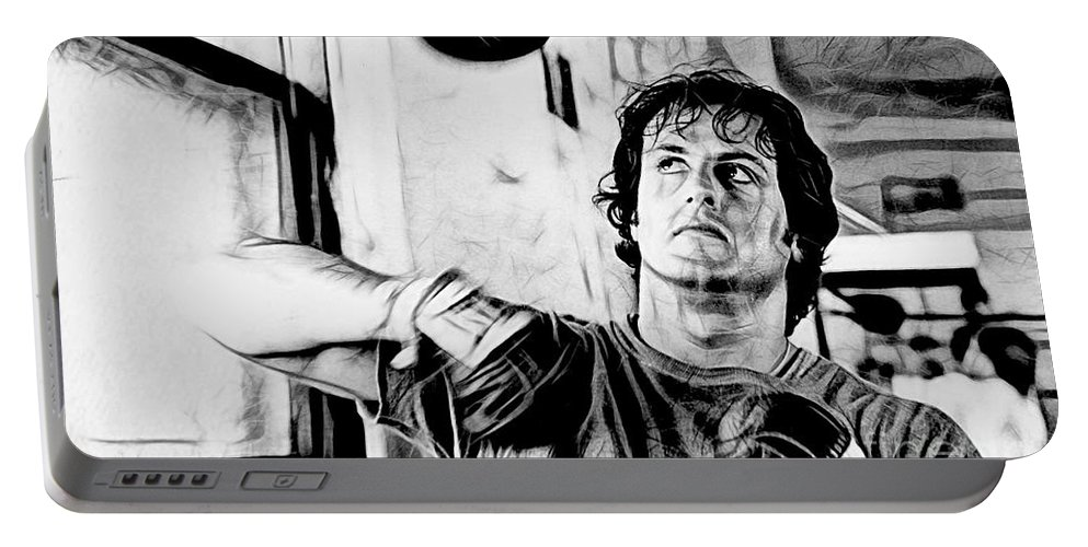Sylvester Stallone Portable Battery Charger featuring the mixed media Rocky Sylvester Stallone Collection by Marvin Blaine