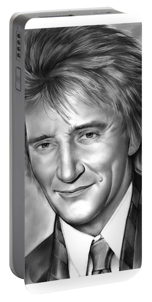 Rod Stewart Portable Battery Charger featuring the drawing Rod Stewart by Greg Joens