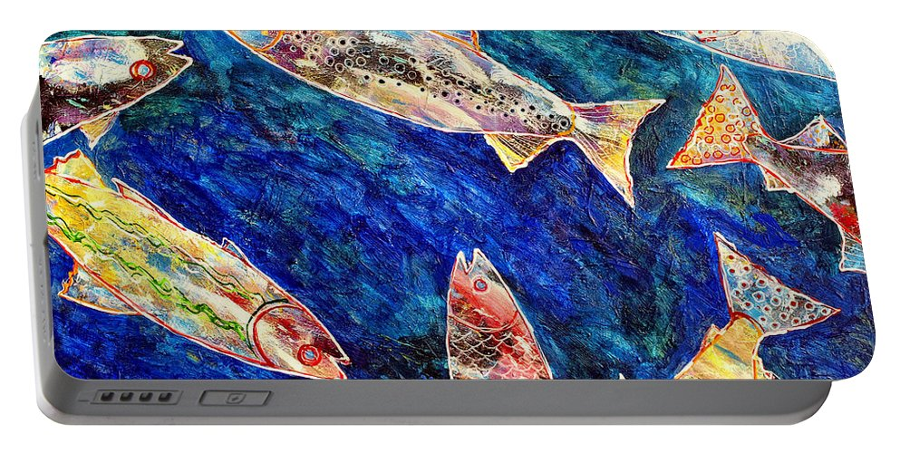 Fish Portable Battery Charger featuring the painting Rogue Wave by Dominic Piperata