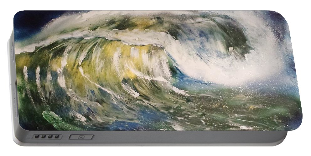 Portable Battery Charger featuring the painting Rogue Wave by Mario Carta