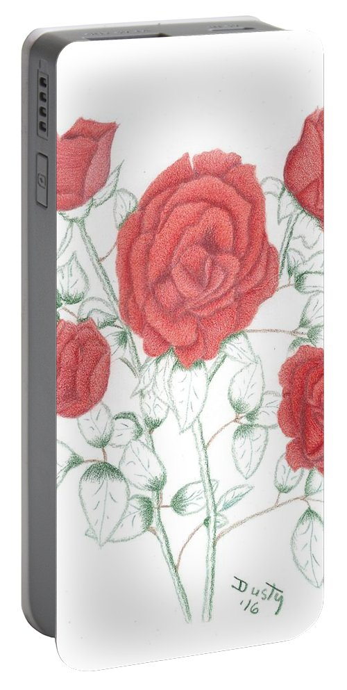 Rose Portable Battery Charger featuring the drawing Rojo Cinco by Dusty Reed