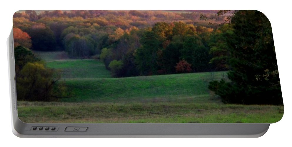 Landscape Portable Battery Charger featuring the photograph Rolling Meadow by Betty Northcutt